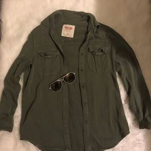 Tops - Olive green button up shirt